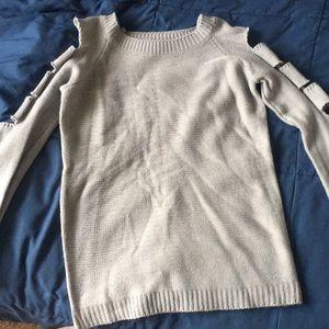 Ladder cut sleeve sweater